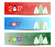 Three banners set for new year and Merry Christmas.  Stock Photography