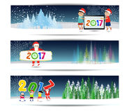 Three banners set for new year and Merry Christmas.  Stock Photo