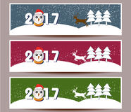 Three banners set for new year and Merry Christmas. Vector Royalty Free Stock Photos