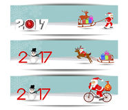 Three banners set for new year and Merry Christmas. Vector Royalty Free Stock Photo