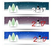 Three banners set for new year and Merry Christmas. Vector Stock Photos