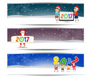 Three banners set for new year and Merry Christmas. Vector Stock Photo