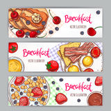Three banners with sketch breakfasts. Set with three banners of different types of breakfast. hand-drawn illustration Royalty Free Stock Photography