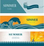 Three banners of summer time and seasonal sale Stock Photos