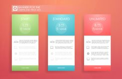 Three banners with tariffs plan. Comparison of pricing table set for business, bullet list with commercial plan. Template for pric royalty free illustration