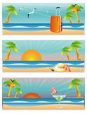 Three banners Travel and Beach.  Stock Image