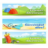 Three banners with traveling equipment Royalty Free Stock Photos