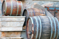 Three barels. Three old wooden wine barrels Royalty Free Stock Photo