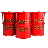 Three barrels of oil 3d Stock Image