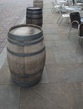Three Barrels With Tables And Chairs Royalty Free Stock Photography