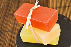 Three bars of glyderin soap in spa Royalty Free Stock Image