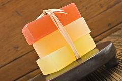 Three bars of glyderin soap in spa Royalty Free Stock Photography