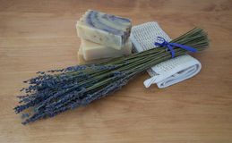 Three Bars of Handmade Soap and Lavender Stock Photo