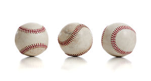 Three baseballs on white background Stock Photo