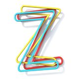 Three basic color wire font Letter Z 3D royalty free illustration