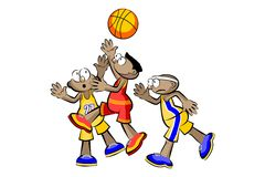 Three Basketball Players isolated over white Stock Images