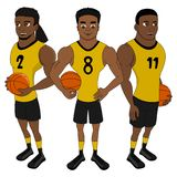 Three basketball players posing together - cartoon stock illustration