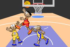 Three basketball players at the stadium Royalty Free Stock Photography
