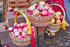 Three baskets with apples stock photos