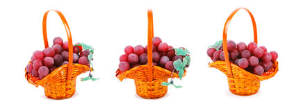 Three Baskets Of Grapes Royalty Free Stock Images