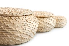 Three baskets on a white background.  on white backgroun Royalty Free Stock Images