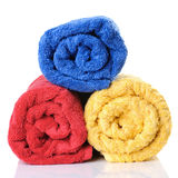 Three bath towels. A stack of towels on a white background Royalty Free Stock Images
