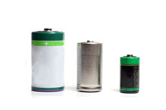 Three batteries. Of different capacities and sizes Stock Images