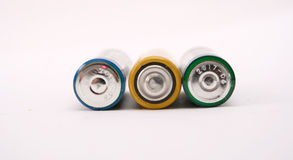 Three batteries. Picture of a Three batteries on white background Stock Images