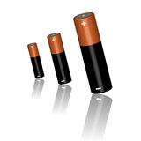 Three batteries on a white background. Vector illustration Royalty Free Stock Photos