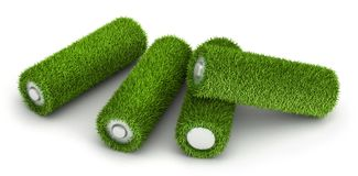 Three battery from grass. Three AA battery from grass ecological free energy concept vector illustration