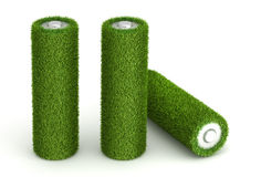 Three battery from grass. Three AA battery from grass ecological free energy concept royalty free illustration