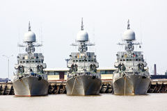 Three battleships Royalty Free Stock Photo