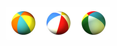 Three Beach Balls. Three 3D Colored Stripes Beach Balls Stock Photography