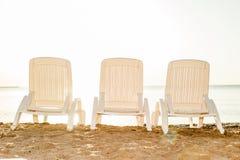 Three beach chair on sand beach Stock Photography