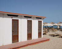 Three Beach Huts Stock Photography
