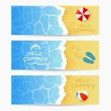 Three beach Summer cards vector illustration