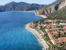 Three Beaches. In the holiday resort of Oludeniz, Turkey with hotels in the foreground Stock Photography