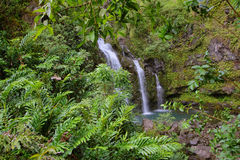 Three Bear Falls or Upper Waikani Falls on the Road to Hana Stock Photo