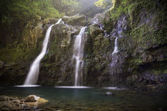 Three Bear Falls or Upper Waikuni Falls on the Road to Hana on M Royalty Free Stock Image