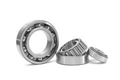 Three bearings. Group of bearings isolated on white background stock photos