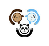 Three bears emblem. Bear and panda and polar bear Stock Image