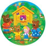 Three bears and little girl Stock Photos