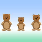 Three bears. Naive drawing of three bears on a blue background Royalty Free Stock Image