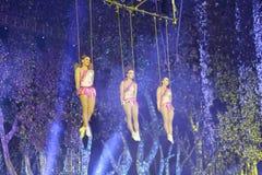 Three beautiful acrobatics actress Stock Images