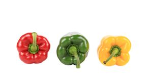 Three beautiful bell peppers. Royalty Free Stock Photos