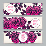 Three beautiful card with roses Royalty Free Stock Photos