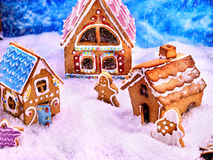 Three beautiful Christmas gingerbread house. Top view. Royalty Free Stock Photos