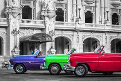 Three beautiful classic cabriolet cars in Havana Cuba Stock Photos