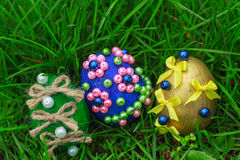 Three beautiful easter eggs Royalty Free Stock Photography