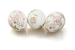 Three beautiful Easter eggs with reflection Stock Images